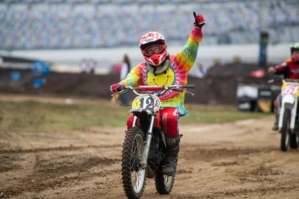 Carl Mabrey celebrates fourth place in the Vintage 125 class.