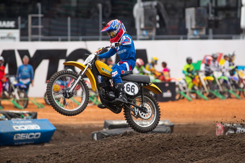 Casey Cochran flies to second place in the Vintage 125 class.