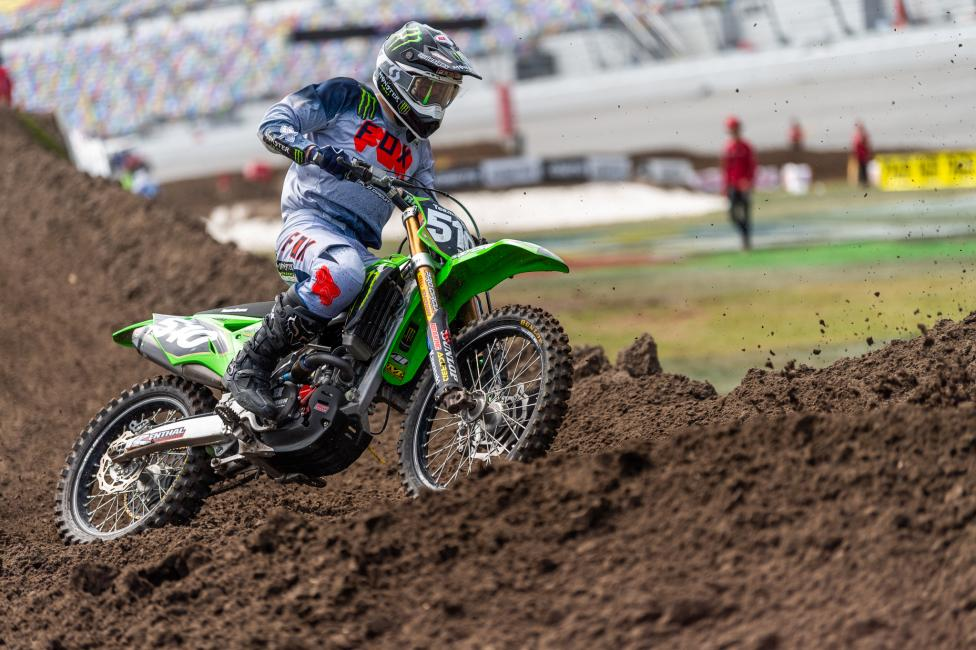 Team Green Kawasaki's Seth Hammaker won the 450 A class, but finished second to Cullin Park in the 250 A division.