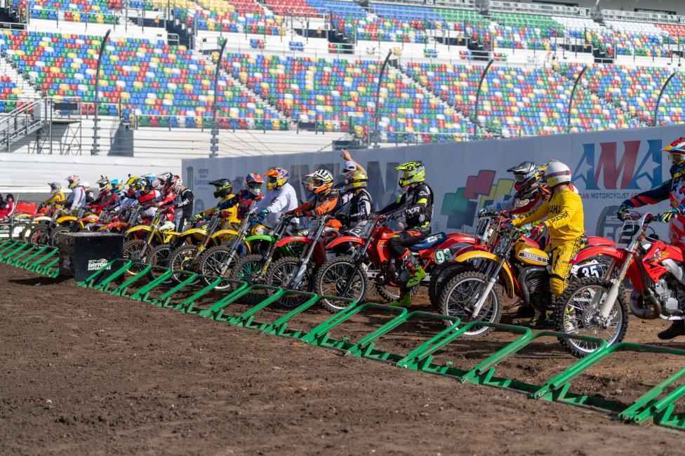 A record 225 entries filled the grids at the second annual Daytona Vintage Supercross (DVSX) at Daytona International Speedway in Daytona Beach, Florida.