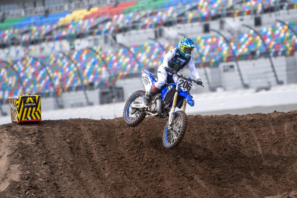 Logan Best proved to be best in the Schoolboy 1 (12-17) division, the Triangle Cycles North Yamaha rider passing Noah Stevens (KTM) on the second lap and then holding off Yamaha's Justin Allen to take a big win. Photo: Shan Moore