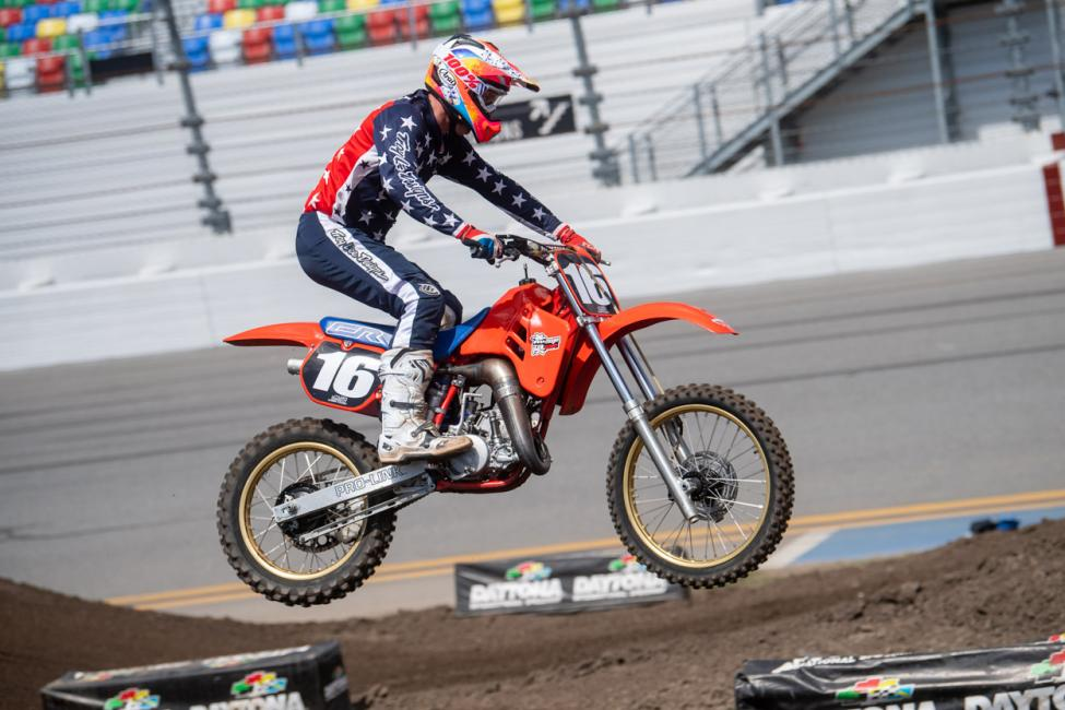 Jeff Stanton, serving once again as the Grand Marshal for the Daytona Vintage Supercross, competed in three events, winning two – Evolution 2 Masters 50 and Evolution 3 Masters 50. Photo: Shan Moore
